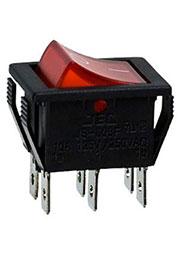 RS-608FBL0BRBT2-G, переключатель клавишный 2хON-ON 250В 16А с красной подсветкой (B127B)