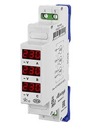 4640016939626, ВР-М03-1 АС15-450В УХЛ4, вольтметр 3ф на DIN 15-450VAC индикация с N
