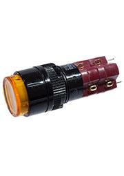 D16LAR1-2ABHY, Переключатель кнопочный с фиксацией 250В/5А LED подсветка 6В
