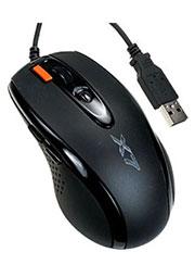 A4TECH X-710BK, Мышь игровая, память 16Кб, 2000dpi, черная