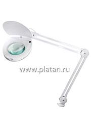 31-0222, Лупа на струбцине круглая настольная 5D с подсветкой с крышкой, белая