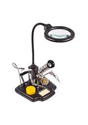 12-0258, Держатель плат  третья рука  с лупой 3D, подставка под паяльник, LED подсветка, стенд для п