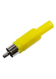 1-200 YE (RP-405) ЖЕЛТЫЙ, штекер RCA пластик на кабель, желтый