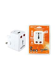 SQ1806-0044, Тревел-адаптер 100-250В 3A (5 в 1) c USB-зарядкой 1000мА белый