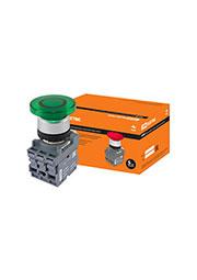 SQ0747-0031, МРМ1-11G(LED) кнопка грибовидная в сборе d40мм 220B 1з+1р зеленая