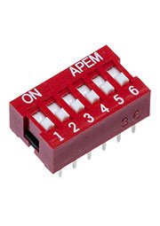 NDSR-06-V, 6 Way Through Hole DIP Switch 6PST, Recessed Actuator