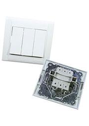 42001091, Выключатель 3 кл белый встроенный монтаж