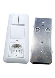 BK2VR-007A-B, Блок 3 верт.Выкл. 1 кл с подсв + Выкл.2+розетка с/з СУ
