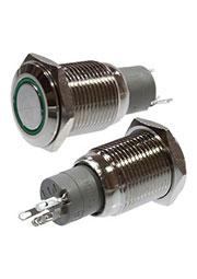 SC-984G d16 12V, Кнопка антивандальная металл 16мм 12В, фикс/подсветка зеленая