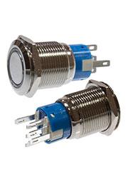 SC-984B d19 12V, Кнопка антивандальная металл 19мм фикс/подсветка синяя