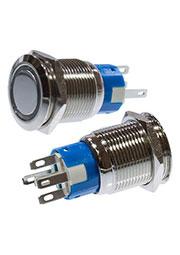 SC-984G d19 250V, Кнопка антивандальная металл 19мм 250В/5А, фикс/подсветка зеленая