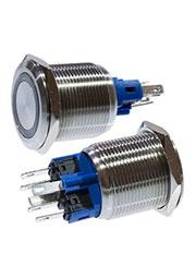 SC-984G d22 12V, Кнопка антивандальная металл 22мм 12В, фикс/подсветка зеленая