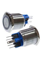 SC-984R d22 250V, Кнопка антивандальная металл 22мм 250В/5А, фикс/подсветка красная