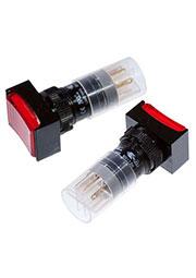 P16LMT2-1ABKR, кнопка без фиксации с LED подсветкой 240В/4А