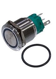 SC-984B d19 250V, 5 выводов, кнопка антивандальная металл 19мм 250В/5А,  фикс/подсветка синяя