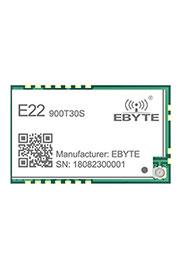 E22-900T30S, Module Low consumption, anti-interference; UART; 868/915MHz; 30dBm; 10; 0.3~62.5k; 40.5