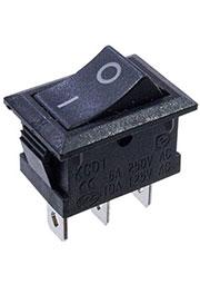 KCD1, Переключатель, 3 конт., 250В/6.0А, on-off, черный