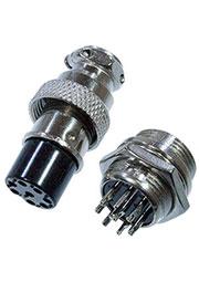 1-562-8, разъем MIC 8 контактов штекер металл на корпус