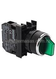 B100SL20Y, Переключатель 0-1 с фиксацией зеленый (1НО)