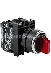 B100SL30K, Переключатель 2-0-1 с фиксацией красный (1НО)