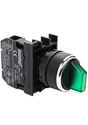 B100SL30Y, Переключатель 2-0-1 с фиксацией зелёный (1НО)