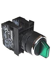 B1Y1SL32Y, Переключатель с подсветкой светодиод 2-0-1 без фиксации зеленый (2НО) 100-240 В AS B1Y1SL