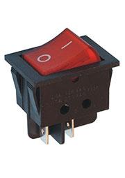 RS601-1010011R4B-ZP, переключатель клавишный ON-OFF 250В 6А красный (аналог R19A-12BRBT-G, B100G-R S