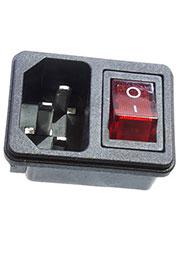 RWG-112 36-2270, вилка сетевая на корпус с выключателем 250В 10А (4с) ON-OFF красный с подсветкой и
