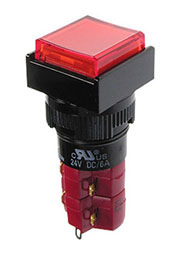 D16LAS1-2ABGR, Переключатель кнопочный с фиксацией 250В/5А подсветка неоновая