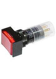 P16LAT2-1ABKR, Переключатель кнопочный с фиксацией 240В/4А LED подсветка 24В