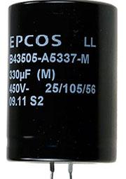 B43505A5337M, конденсатор электролитический 330мкФ 450В 105гр.