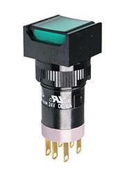 P16LAS2-1ABKG, Переключатель кнопочный с фиксацией 240В/4А LED подсветка 24В