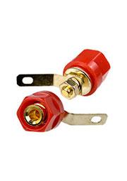 1-663G, гнездо-банан 28 мм пластик на корпус красный кабель до 6мм.   позол.