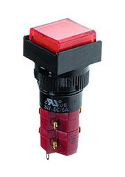 D16LAS1-2ABJR, Переключатель кнопочный с фиксацией 250В/5А LED подсветка 12В красный