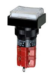 D16LMT1-2ABKW, Переключатель кнопочный без фиксации 250В/5А LED подсветка 24В