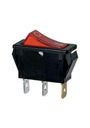 R495BRBET2-G, переключатель клавишный ON-OFF 250В 16A с красной подсветкой (аналог B120E)