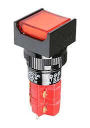 D16LAS2-2ABKR, Переключатель кнопочный с фиксацией 250В/5А LED подсветка 24В