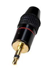 1-058G, штекер аудио 3.5мм  моно металл на кабель   позолоченный
