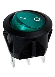 RC95BGNBT2-G, переключатель клавишный ON-OFF 250B 10A с зеленой подсветкой