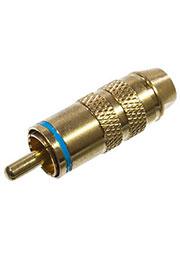 1-284G BLUE, штекер RCA металл с термостойким изолятором на кабель синий  позолоченный