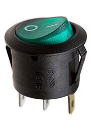 RL3-5LBGNBT2-H-G, переключатель клавишный ON-OFF 250B 6A черный с зеленой подсветкой
