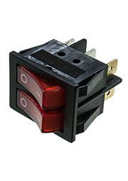 RS-628FLLBRBT2-G, переключатель клавишный 2xON-ON 250В 8А 2х кнопочный с красной подсветкой (аналог