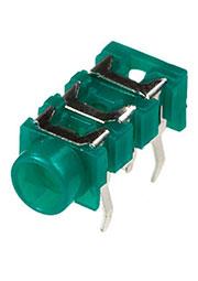 1-098, гнездо аудио 3.5мм стерео пластик на плату зеленый