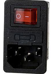 CH1-0457, евровилка сетевая на корпус с выкл. и предохр.