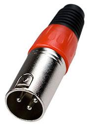 1-503 RD, разъем XLR 3 конт. штекер металл цанга на кабель красный