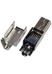 173 SERIES Mini USB-B, вилка на кабель 5 контактов