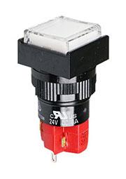 D16LMS1-1ABKW, кнопка без фиксации с LED подсветкой 250В/5А