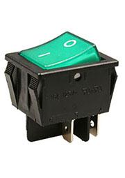 R515BGNBT-G, переключатель клавишный 220В 16A зеленый (аналог JS608A SWR74)