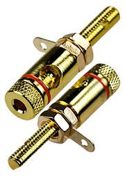 1-671G(LSTGB), гнездо-банан 48мм металл на корпус красный кабель до 10 мм.