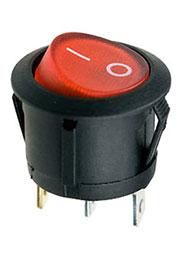 RL3-5LBRBT2-H-G, переключатель клавишный ON-OFF 250B 6A черный с красной подсветкой
